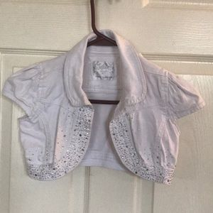 Girls white justice shrug with Crystals